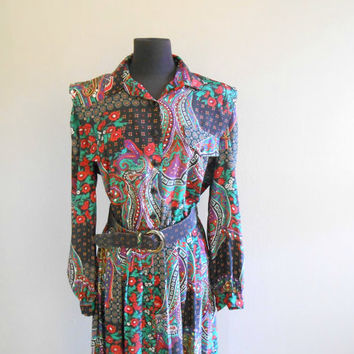 Paisley Dress Shirtdress Black Colorful Paisley Print Secretary Shirt Dress Size Large Extra Large