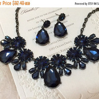 Wedding jewelry set ,bridesmaid jewelry set, Bridal necklace earrings, vintage inspired rhinestone jewelry, navy blue crystal jewelry set