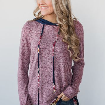 Most of All Floral Hoodie- Heather Plum
