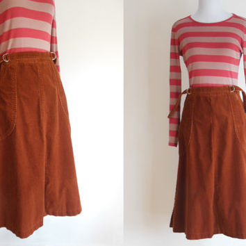 cinnamon corduroy skirt | 1970s rust brown wraparound skirt | fits XS to SMALL or sizes 2 to 6