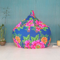 Reserved for Amanda - Shanghai Flower  - Colorful flower bean bag chair cover - Ready to ship