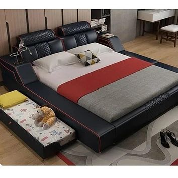 Modern Soft Leather Bed with Drawer Storage Table Light