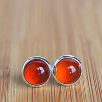 Stud earrings, red agate earrings, gemstone studs, post earrings, red studs, women's jewelry, polished gemstone, red agate studs, 8mm