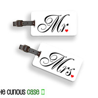 Mr. and Mrs. Metal Luggage Tag Set, Personalized with Address, Message or Quote, Printed FULL Metal Tags