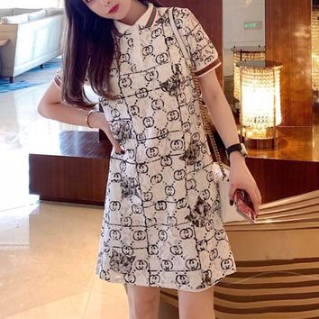 """Gucci"" Fashion Casual Lapel Sequin Cat Head Stripe Short Sleeve Polo Shirt Dress"