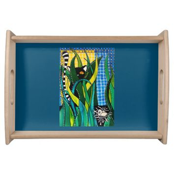 Hunter in Camouflage Whimsical Cat Art Serving Tray