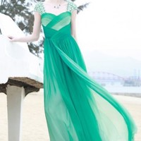 Dark Green Elegant Sweetheart Chiffon Evening Dresses With Beads(Cbs131)