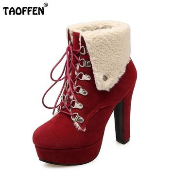Women Platform Thick Heel Ankle Boots Fashion Woman Round Toe Lace Up Heels Shoes Woma