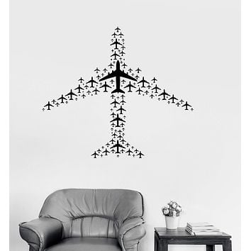 Vinyl Decal Airplane Flight Airport Aircraft Travel Wall Sticker Mural Unique Gift (ig3073)