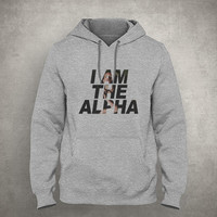I am the alpha - Gray/White Unisex Hoodie - HOODIE-064