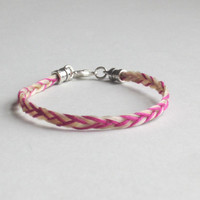 Three-strand White Braided Horse Hair Bracelet with Accent Thread