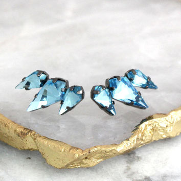 Blue Earrings, Bridal Blue Earrings, Light Blue Earrings, Aquamarine Climbing Earrings, Crystal Climbing Earrings, Gunmetal Earrings