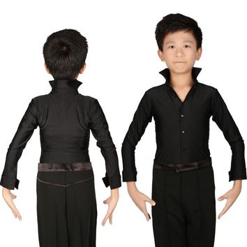 Classical Black Boys Latin Dancing Shirts Long Sleeve Modern Tango Dance Clothing Top Kids Stage Performance Costumes