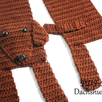 Crochet PATTERN - Dachshund Scarf / Dog Breed Scarf, Puppy Scarf, Dog Scarf, Neck Warmer - PATTERN ONLY