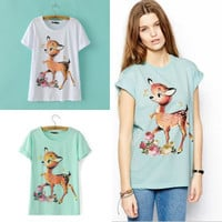 Green and White Cartoon Deer/Fawn Print Short Sleeve T-Shirt
