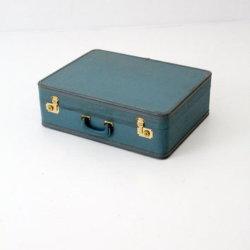 FREE SHIP vintage 60s suitcase / mid century blue luggage