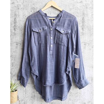 Free People - Talk to Me Lightweight Gauzy Button Down in Blue