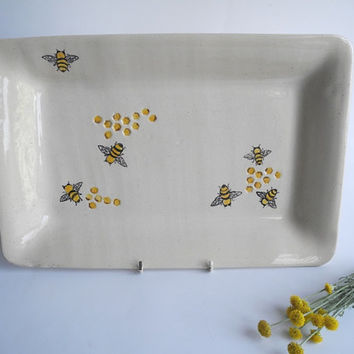 Large Ceramic Plate Serving Platter - Handpainted Honey Bees in Orange and Black