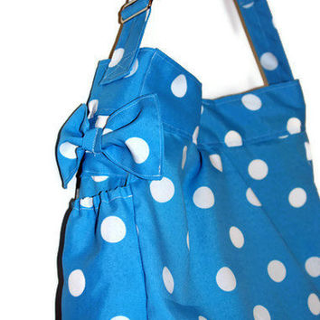 Stain And Water Resistan Diaper Bag Turquoise with White Polka Dots