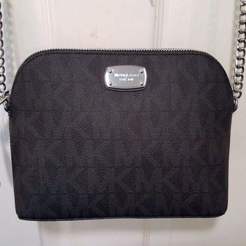 NWT $168 MICHAEL KORS CINDY Large Dome Signature Crossbody Bag BLACK Hobo Tote