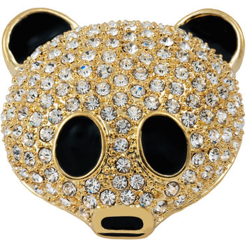 Panda Face Jeweled Gold-Tone Pin