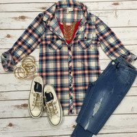 Penny Plaid Flannel Top: Ivory/Red