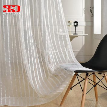 Solid Striped Tulle Curtains For Living Room white Sheer Shiny Thread Modern Voile Cheap Organza Curtains Window Custom Size