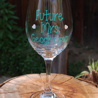 Personalized Wine Glass Furture Mrs. Engagements, Wedding Gifts, Wedding Parties, Newlyweds, Bachelorette Gifts, Bridal Shower Gifts Favors