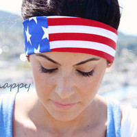 American Flag FitHappy CROSSFIT HERO WOD Classic Headband, Military, Fourth of July, Fitness, Yoga, Stylish Workout Accessory
