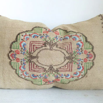 Natural Ecru Kilim Lumbar Pillow 60x40 cm