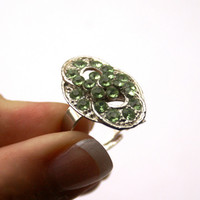 10 dollar SALE!!....Green Rhinestone Costume Ring Adjustable Silver Tone Vintage