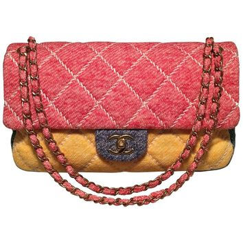 Chanel Multicolor Quilted Knit Classic Flap Shoulder Bag