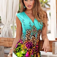 Turquoise Multi (TQMU) Bright Animal Print Top