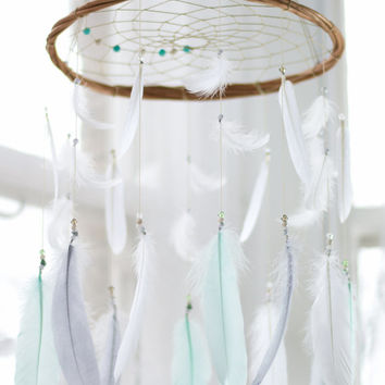 Mint, White & Gray Boho Dreamcatcher Mobile - Dream catcher Mobile Boho Bohemian Baby Mobile Tribal Crib Nursery Baby Girl Baby boy