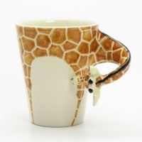 Giraffe Mug 00002 Ceramic 3D Cup Handmade Animal Lover Gifts Original Handcrafted Coffee Cup Sculpt and Paint
