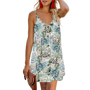 Chic Sky Blue Floral Pattern Buttoned Slip Cami Dress