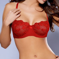Laies Sexy Underwire Unpadded Embroidery Lace Bra Mesh Lined Brassiere Bralette Push Up Bras Black Red White Size A B C D Cup