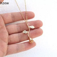 hzew Delicate Rose Necklace & Pendants Flower Best Friends  Vintage Charm Cute Women Jewelry necklace