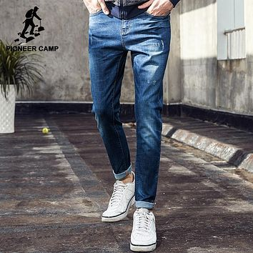 Pioneer Camp new thin summer jeans men brand-clothing blue straight denim pants male top quality stretch jeans pants ANZ703097