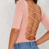 Show Down Lace Up Bodysuit