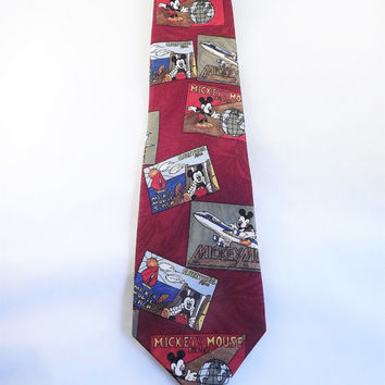 Mickey Mouse Tie, Mickey Mouse World Traveler Necktie, Mens Colorful Novelty Tie,l Funny Gag Tie