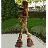 NEW Fashion Women Flare Print Pants Floral Retro Boho Pants Stretch High Waist Trousers