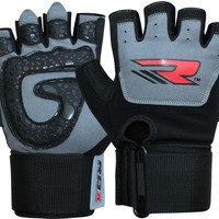 Auth RDX Gel Weight Lifting Body Building Gloves Gym Strap Training Leather Grip GRE