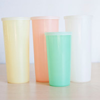 Vintage Tupperware Millionaire Pastel Tumblers, Iced Tea Tupper Ware Cups with Lids, Set of 4