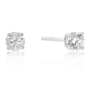 4mm Sterling Silver Round Cut Stud Earrings