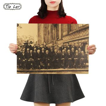 TIE LER Scientist Meeting 1927 Year Solvay Conference Classic Wall Picture Vintage Poster HD Bar Cafe Retro Wall Decor 51x36cm