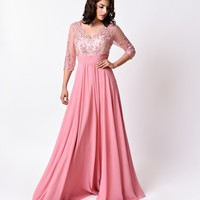 Dusty Rose Pink Sheer Sleeve Empire Waist Long Dress 2016 Prom Dresses