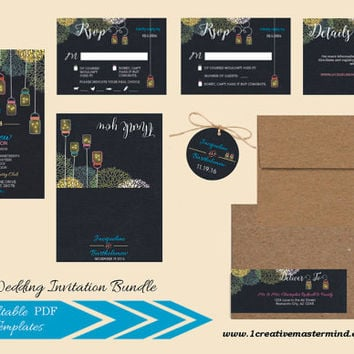Instant Download Wedding Bundle Template, RSVP, Details Card, Thank You, Editable, Instant Download, Chalkboard Mason Jar Fireflies #1CM77-1