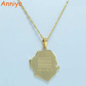 Anniyo SIERRA LEONE Map Flag Gold Color Charm Pendant Necklaces Africa Country Maps Jewelry #014A210