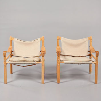Super Rare Pair of Arne Norell Safari / Sirocco Chairs in canvas and leather -  Mid Century Modern